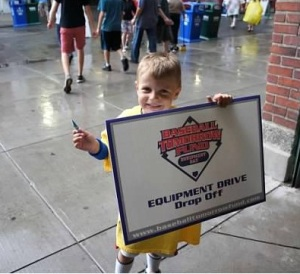 An excited fan at the Boston Red Sox's Equipment Day Drive in 2012